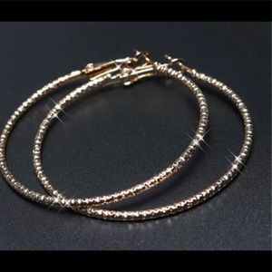 Jewelry - 14k GOLD PLATED CLASSIC SLIM LARGE HOOPS EARRINGS
